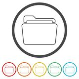 File icon, Folder icon, 6 Colors Included. Simple  icons set Stock Photo