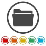 File icon, Folder icon, 6 Colors Included. Simple vector icons set Royalty Free Stock Photo