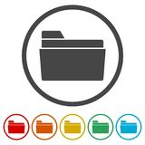File icon, Folder icon, 6 Colors Included. Simple vector icons set Stock Image