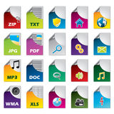 File icon set of twenty. For different file types Royalty Free Stock Images