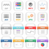 File icons. Collection of 16 icons, isolated on white background vector illustration