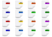 File icons. File formats  set of colored icons in the form of leaves Royalty Free Stock Photography