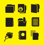 File icons. Over yellow background vector illustration Stock Images
