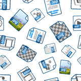 File icons with extensions on white, seamless pattern. Bright blue file icons with extensions on white, seamless pattern Stock Photography