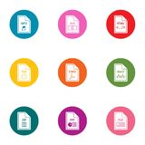 File icons set, flat style. File icons set. Flat set of 9 file vector icons for web isolated on white background Royalty Free Stock Photo