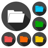 File icons set with long shadow. Vector icon Stock Photography