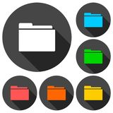 File icons set with long shadow. Vector icon Stock Photos