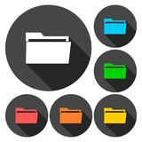 File icons set with long shadow. Vector icon Stock Image