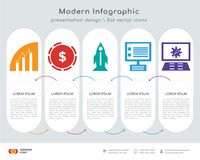 File infographics design. Infographics design  and File, Pie chart, Startup, Laptop, Settings icons can be used for workflow layout, diagram, annual report, web Stock Image