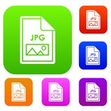 File JPG set collection. File JPG set icon in different colors isolated vector illustration. Premium collection Stock Photos