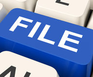 File Key Means Filing Or Data Files Stock Photo