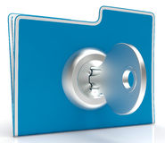 File With Key Shows Security And Classified. File With Key Showing Security And Classified Royalty Free Stock Photo