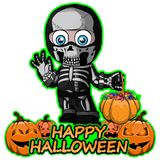 A boy in a suit of a Skeleton wishes happy halloween. File in layers and editable. All objects are drawn separately vector illustration