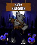 Halloween Design template with werewolf. Royalty Free Stock Photography