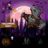 Halloween Party Design template with werewolf Stock Photos