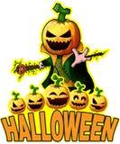 Halloween Poster with Pumpkin Cartoon Character Stock Photography