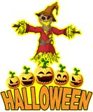 Halloween Poster with Scarecrow stock illustration