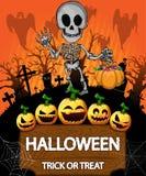 Halloween poster with skeleton. Vector illustration. royalty free illustration