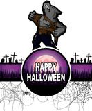 Happy Halloween Design template with werewolf. Stock Photography