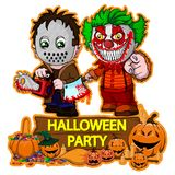 Halloween poster design with vector killer with mask and evil clown characters. File in layers and editable stock illustration