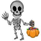 A cartoon vector illustration of a happy skeleton going trick or treat for halloween. File in layers and editable. Objects are drawn separately Royalty Free Stock Images
