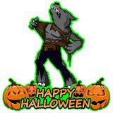 Cartoon werewolf wishes happy halloween. File in layers and editable. The objects are drawn separately stock illustration