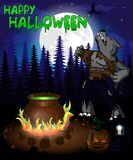 Halloween poster with bowler and werewolf in forest. Vector illustration. File in layers and editable. Objects are drawn separately royalty free illustration