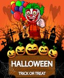 Poster of Halloween with clown holding a baloons. Vector illustration. File in layers and editable stock illustration