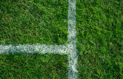 File lines. Sports lines painted on a green grassy playing field Royalty Free Stock Photos