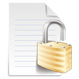 File lock. Concept  icon, paper sheet with padlock isolated on white background Royalty Free Stock Photos