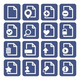 File Management Icons Set. Blue box Design. Vector Royalty Free Stock Photos
