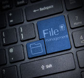 File Management. Keyboard concept whit icon and text stock image