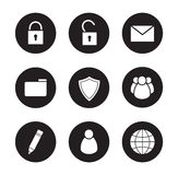 File manager black icons set Royalty Free Stock Image