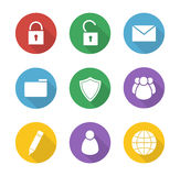 File manager flat design icons set. Data storage interface buttons. Server ui round long shadow symbols. Lock and unlock white silhouette illustrations on Stock Image