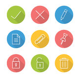 File manager linear icon set. Approve and decline round long shadow outline symbol. Multimedia application interface buttons. Security lock and unlock white stock illustration