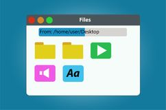 File manager window contains the files and folders. Vector image isolated on blue background Stock Photography
