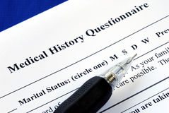 File the medical history questionnaire Stock Photos