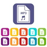 File MP3 icons set. Vector illustration in flat style in colors red, blue, green, and other Royalty Free Stock Photo