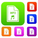 File MP3 set collection. File MP3 set icon in different colors isolated vector illustration. Premium collection Stock Photos