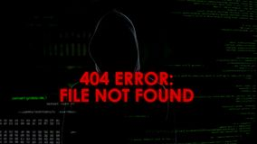 File not found error phrase, unsuccessful hacking attempt, male coder fail. Stock photo stock photos