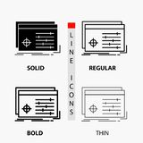 File, object, processing, settings, software Icon in Thin, Regular, Bold Line and Glyph Style. Vector illustration. Vector EPS10 Abstract Template background royalty free illustration
