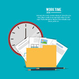 File office work time supply icon, vector. File folder infographic document pencil clock office work time supply icon. Colorfull and flat illustration, vector Royalty Free Stock Photo