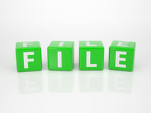 File out of green Letter Dices Stock Photos