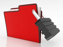 File With Padlock Showing Security. And Classified Royalty Free Stock Photo