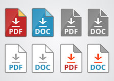File pdf and doc download vector icons set Stock Image