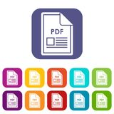 File PDF icons set. Vector illustration in flat style in colors red, blue, green, and other Royalty Free Stock Image