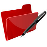 File with pen. Illustration of file with pen on white background Royalty Free Stock Image