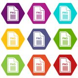 File PNG icon set color hexahedron. File PNG icon set many color hexahedron isolated on white vector illustration Royalty Free Stock Images
