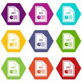 File PPT icon set color hexahedron. File PPT icon set many color hexahedron isolated on white vector illustration Stock Photography