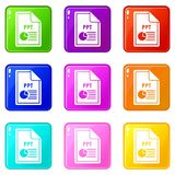 File PPT icons 9 set. File PPT icons of 9 color set isolated vector illustration Stock Images